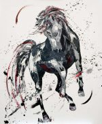 Penny Warden Forever black abstract horse painting for sale