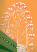 Jennie Ing The London Eye (yellow) colourful art print for sale