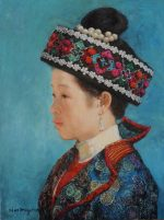 Shen Ming Cun The Braided Headdress, Miao Tribe oil portrait painting for sale