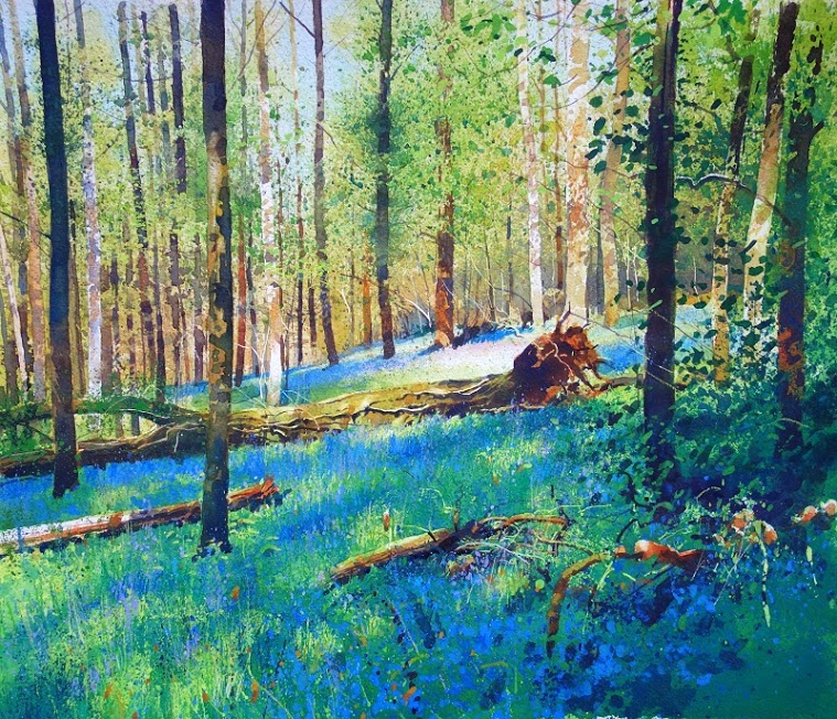 Richard Thorn Woodland Wonders bluebells painting for sale