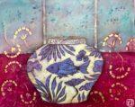 Emma Forrester Lone Blue Fish colourful original art for sale