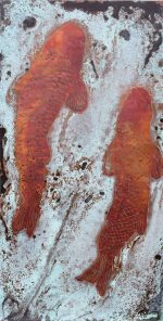 Paul Fearn Luminious Beings III copper koi etching for sale
