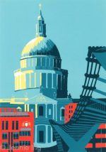 Jennie Ing St Paul's with Millennium Bridge art print for sale