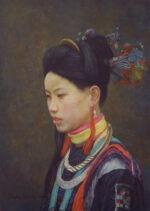 Shen Ming Cun Dai Yu, Black Jade in Profile realistic portrait for sale