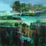 Celia Wilkinson Edging Forward blue green abstract art for sale