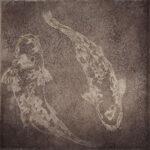 Paul Fearn Gemini koi fish original copper painting for sale