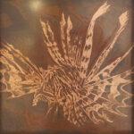 Paul Fearn Leo original copper sheet art framed for sale