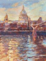 John Hammond Evening Light St Pauls traditional art landscape water london painting for sale