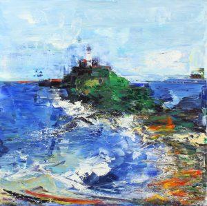 Allan Storer Cornish Lighthouse I seascape painting for sale
