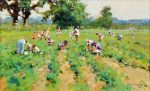 John Haskins The Strawberry Pickers traditional art for sale