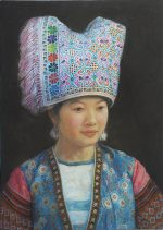 Shen Ming Cun Celebration Miao Tribe oil painting for sale
