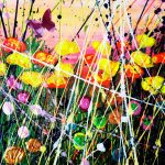Tracey Thornton Dew At Sunrise colourful flower art for sale