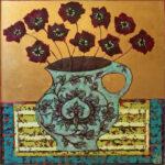 Emma Forrester Crimson Blooms flowers in vase art for sale