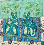 Emma Forrester Still Life With Pair Of Cats colourful art for sale