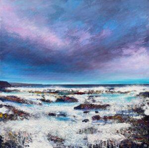 John Connolly On The Rocks blue sunset seascape art for sale