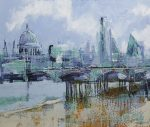 Richard Knight Oxo Wharf To The City london painting for sale