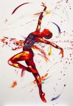 Penny Warden Promise abstract red ballerina painting for sale