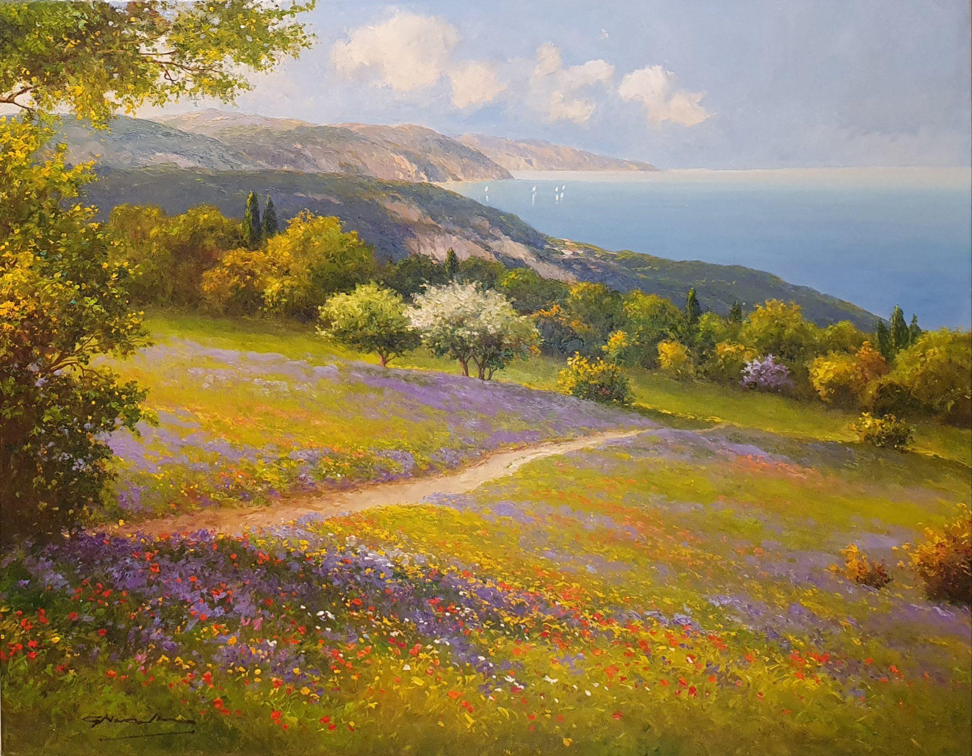 Gerhard Nesvadba To The Sea meadow seascape art for sale