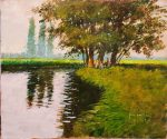 John Haskins Out For The Day On Mow Fen Riverhouse traditional painting for sale