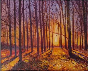 John Connolly Sunset autumn woodland painting for sale