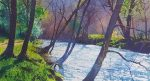 Richard Thorn Along the meadows river painting
