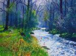 Richard Thorn Hazy River woodland stream painting