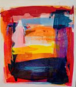 Jane Wachman Morocco 44x49 framed 650 bold abstract colour painting for sale