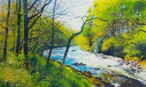 Richard Thorn The Rushing Dart river watercolour painting