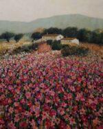 Hazel Barker Flowery Meadow Menorca spanish art for sale