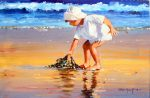 John Haskins Serious About Seaweed beach painting for sale