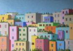 Ali Mourabet Pastel Cityscape lebanese painting for sale